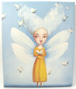 Whimsical Fairy Original Canvas Painting Nursery Kids Room Art 12x10 Not Signed