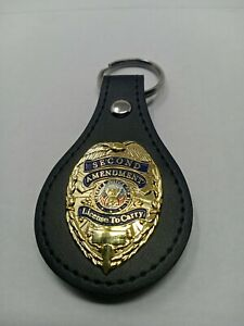 Gold license to carry Badge Leather Key FOB Keychain Keyring Quality