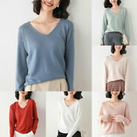 Fashion Women V-Neck Sweater Winter Warm Knitted Sweater Pullover Jumper Tops