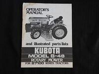 """ORIGINAL KUBOTA B7100 TRACTOR B-48 48"""" MOWER DECK OPERATORS MANUAL LATE 1970's"""