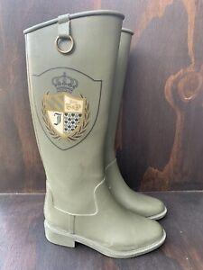 Juicy Couture Olive Khaki Rubber Rain Boots Women's Size 6