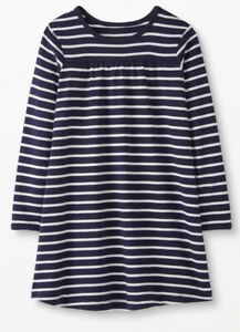 Hanna Andersson Size 140 10 Navy Blue White Striped Long Sleeve Dress NWT