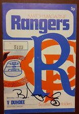 More details for glasgow rangers v dundee 1974 football programme autographed by willie mathieson