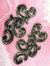 """Sequin Appliques Smoke MIRROR PAIR Scroll Designer Beaded Iron On 7"""" (XR357X-sm)"""