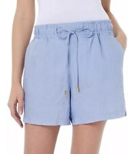 NEW Company Ellen Tracy Women's Linen Shorts Chambray Size LARGE MSRP $59.50
