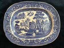 "Antique English Blue Willow Platter - Measures 11"" x 9"""