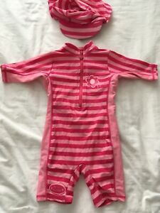 Baby Girls Sunsuit & Hat Age 6-9 Months From Mini Mode