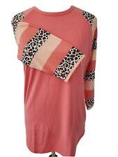 LuLaRoe Randy Shirt Baseball tee Black White Pink Brown Leopard Stripe Medium