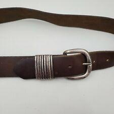 Honest Belt 32 Leather Silver Brown Mens Stripe Vintage Solid Dark