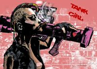 TANK GIRL COMICS Movie Fanart Poster signed by the artist RARE GIFT HOT GIRL GUN