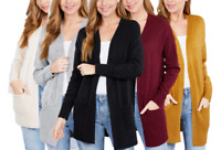 Women's Casual Open Front Long Sleeve Knit Cardigan Sweater Coat with Pockets