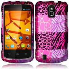 For ZTE Force N9100 Rubberized HARD Protector Case Phone Cover Pink Exotic Skins
