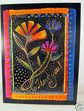 Laurel Burch Thank You Greeting Card Deluxe Card Bright Floral Flowers New
