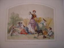 """aquatinte aquarellée """" les moissonneuses """" signée Joseph Felon (1818-1896)"""