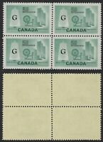 Scott O38a, 50c Official Textiles Issue, Flying G overprint, block of 4, VF-NH