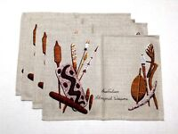 VTG Australian Aboriginal Weapons Linen Placemats Set Of 4 Boomerang Hunt NEW