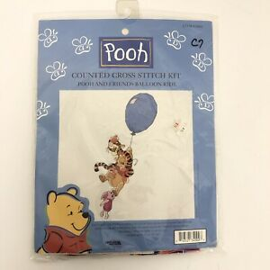 "Leisure Arts Counted Cross Stitch Kit ""Balloon Ride"" Pooh Piglet Tigger Disney"