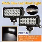 2X 7INCH 36W CREE LED WORK LIGHT BAR FLOOD BEAM OFFROAD FOG LAMP UTE TRUCK 4WD