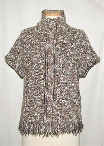 St John Brown-Multi Boucle Knit Fringe Trim Short Sleeve Collared Snap Jacket M