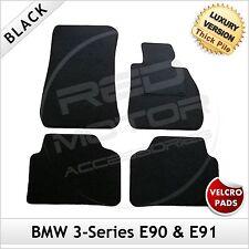 BMW 3-Series E90 E91 2005-2013 Velcro Tailored LUX 1300g Car Carpet Mats BLACK