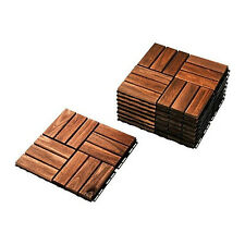 "Ikea Outdoor Deck Patio Interlocking Flooring Tiles Brown-Stained 9 pcs 12x12"""