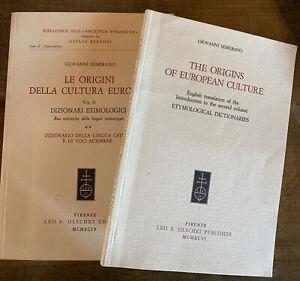 Le Origini Della Cultura Europea Vol. II Semerano Dizionari Etimologici 2 Books