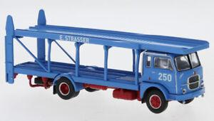 """BREKINA 58480 Fiat 640 Camion Transporter Bleu Ciel """" Strasser """" Ho 1:87"""