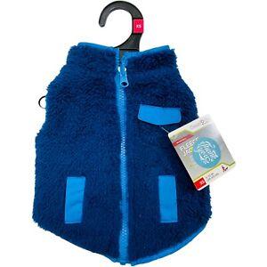 Pets dogs winter rain coat vest warming size XS blue reversible fleece