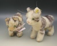 "1950's STEIFF GERMANY MOHAIR LOT OF 2 TABBY KITTENS CATS 5.5"" AND 3.75"""