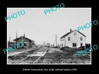 OLD LARGE HISTORIC PHOTO OF ELLIOTTS CONNECTICUT THE RAILROAD STATION c1910