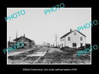 OLD LARGE HISTORIC PHOTO OF ELLIOTTS CONNECTICUT THE RAILROAD STATION c1910