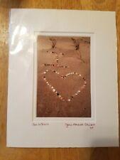 """Love in Shells"" Photo/Picture 4"" x 6"" Mat 8"" x 10"" Beach Shell Scene"
