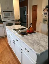 "Stick On Countertop White Faux Marble Granite Film 36""x 144"" Roll"