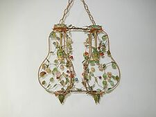 ~c 1920 RARE Double Vibrant  Tole Roses & Flowers Chandelier Vintage Stunning~