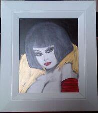 TABLEAU signé DAF  peinture acrylique et encre sur  toile visage femme encadrée