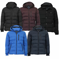 Mens Jacket Threadbare Coat Padded Quilted Hoodie Puffer Bubble Zip Lined Winter