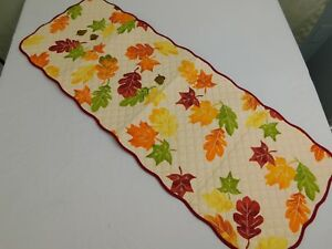Thanksgiving, Fall Leaf-Print Quilted Cotton Table Runner 36-Inch #7485