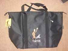 Tintin Medium Beach Bag / Shopping Bag - Tintin and Snowy Design - Black - rf109