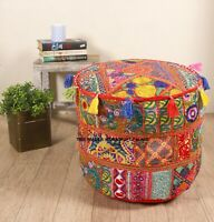 Large Pouf Ottoman Round Poof Pouffe Footstool Indian Floor Red Boho Cover 18""