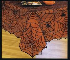 """BLACK SPIDER WEB LACE TABLECLOTH w/ ORANGE LINER ~ 60"""" x 84"""" ~ HALLOWEEN LACE"""