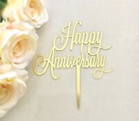 Happy Anniversary Acrylic Cake Topper Mirror Gold Decorations
