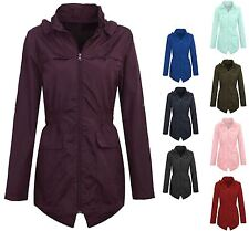 Womens Plus Size Lightweight Hooded Showerproof Rain Coat Jacket Mac Red 22