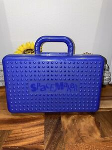 """Vintage Spacemaker Large 11"""" X 7"""" With Handle Pencil Box Case Blue & Clear"""