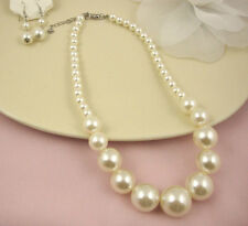 Graduated Cream Faux Pearl Necklace and Earrings Set
