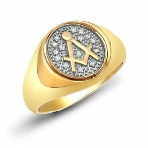 9ct Yellow Gold Masonic 10pt Diamond Swivel Oval Signet Ring