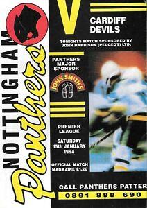 1994 Nottingham Panthers v Cardiff Devils Ice Hockey Programme (15/1/94)