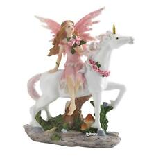Pink Fairy on Unicorn Statue Figurine - Myth Legend Mystical Decor