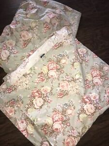 RALPH LAUREN Vintage Charlotte Floral Roses French Country QUEEN FLAT & FITTED