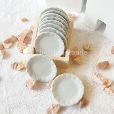 10x27mm White Scallop Dish Plate Dollhouse Miniatures Ceramic Kitchenware Supply