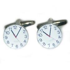 Black & White Wall Clock Cufflinks With Gift Pouch Time Teacher Maths Present